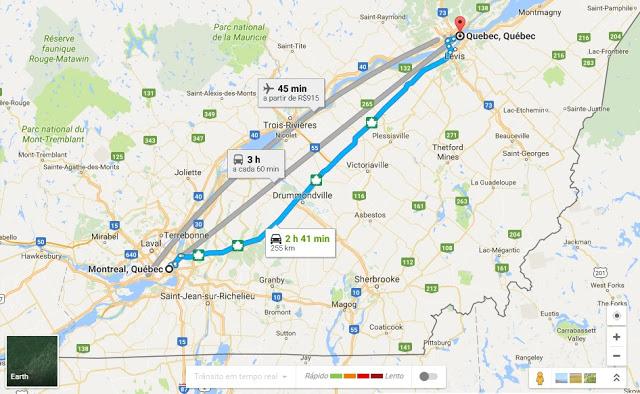 Viagem de carro de Montreal a Quebec