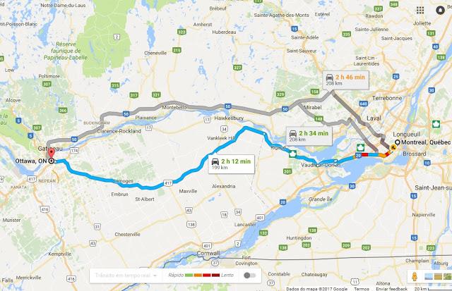 Viagem de Carro de Montreal a Ottawa