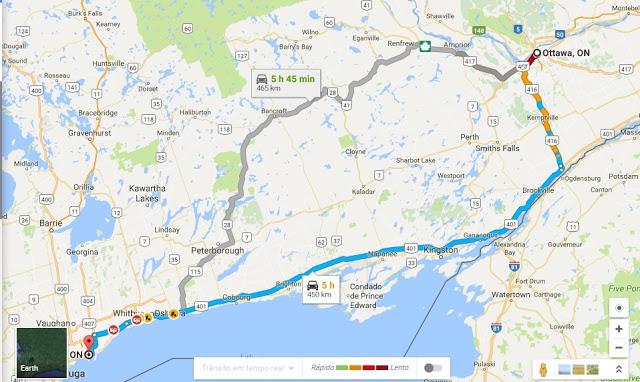 Como ir de Ottawa a Toronto de carro