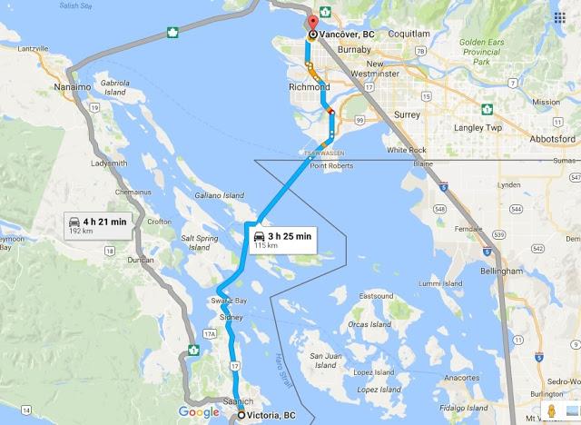 Como ir de Victoria a Vancouver de carro