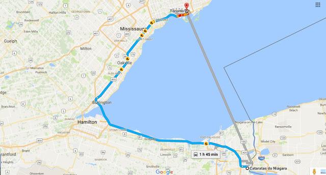 Viagem de carro de Niagara Falls a Toronto